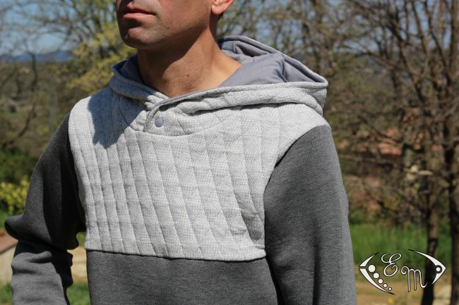 aconit patron homme etoffe malicieuse couture sous pull sweat jersey moleton col marin capuche plis